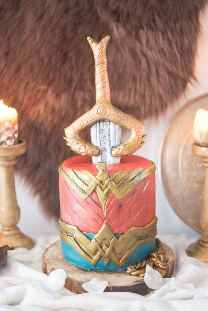 Wonder Woman Cake from a Medieval Wonder Woman Inspired Party on Kara's Party Ideas | KarasPartyIdeas.com (7)