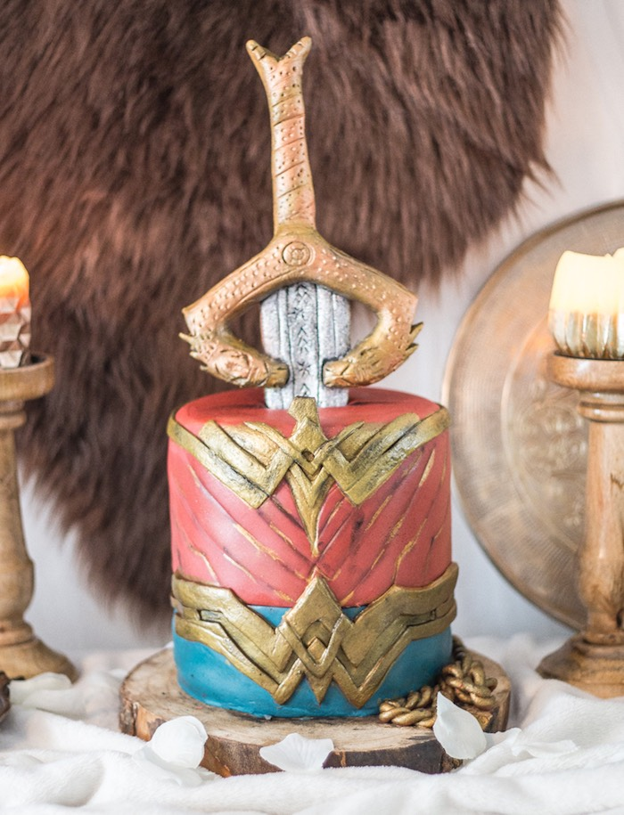 Wonder Woman Cake from a Medieval Wonder Woman Inspired Party on Kara's Party Ideas | KarasPartyIdeas.com (19)