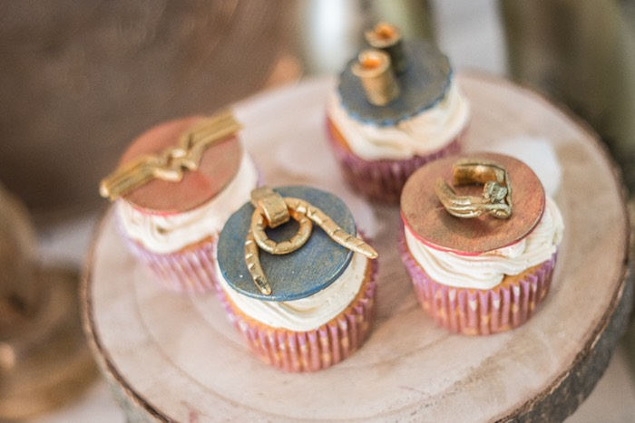 Wonder Woman Cupcakes from a Medieval Wonder Woman Inspired Party on Kara's Party Ideas | KarasPartyIdeas.com (18)