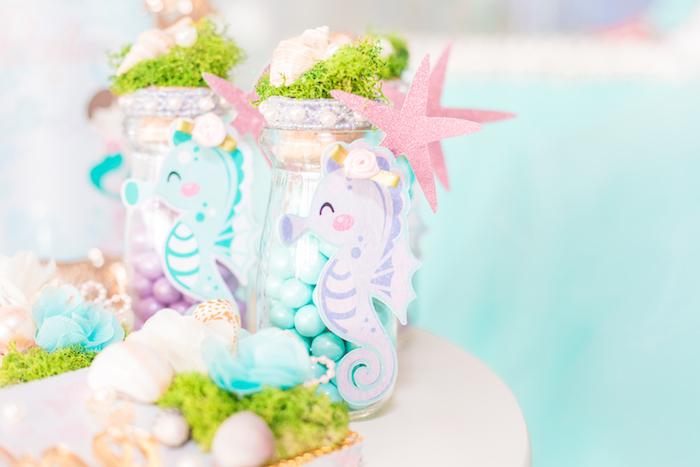 Seahorse Favor Jars from a Mermaid Under the Sea Birthday Party on Kara's Party Ideas | KarasPartyIdeas.com (29)