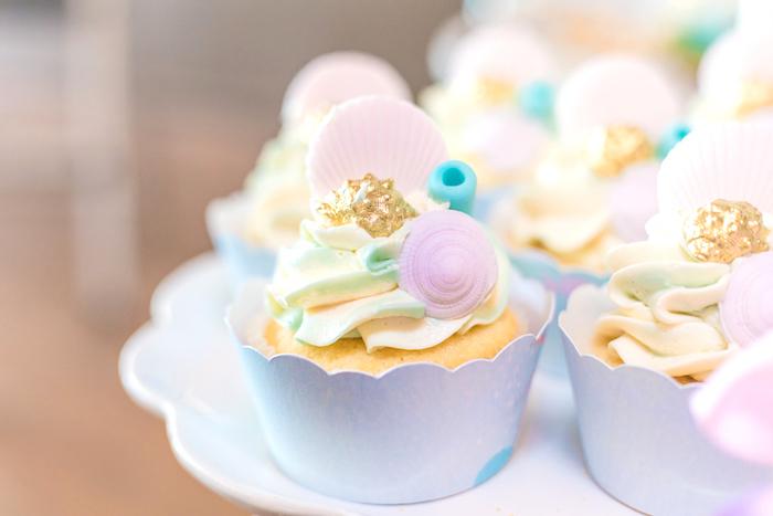 Seashell Cupcakes from a Mermaid Under the Sea Birthday Party on Kara's Party Ideas | KarasPartyIdeas.com (25)