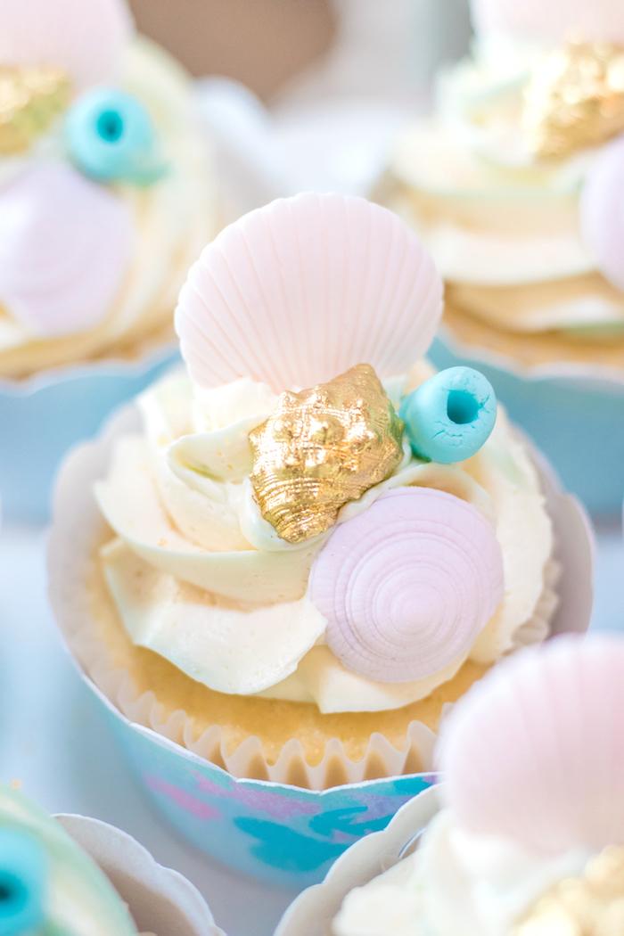 Seashell Cupcake from a Mermaid Under the Sea Birthday Party on Kara's Party Ideas | KarasPartyIdeas.com (24)