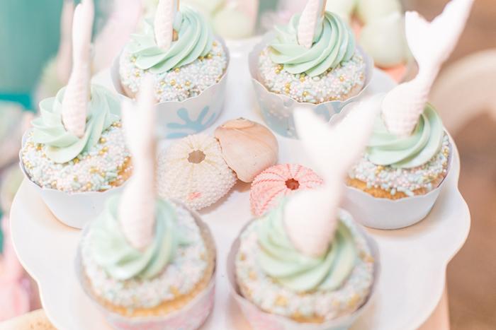 Mermaid Fin Cupcakes from a Mermaid Under the Sea Birthday Party on Kara's Party Ideas | KarasPartyIdeas.com (20)