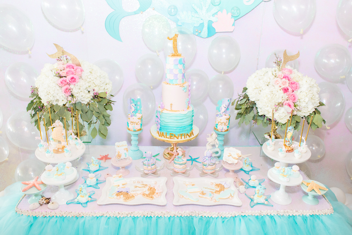 Under the Sea Sweet Table from a Mermaid Under the Sea Birthday Party on Kara's Party Ideas | KarasPartyIdeas.com (19)