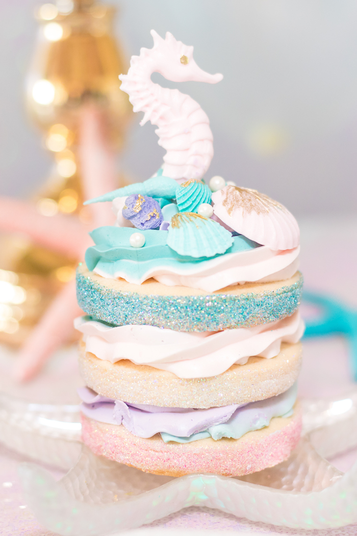 Seahorse Cookie Cake from a Mermaid Under the Sea Birthday Party on Kara's Party Ideas | KarasPartyIdeas.com (18)