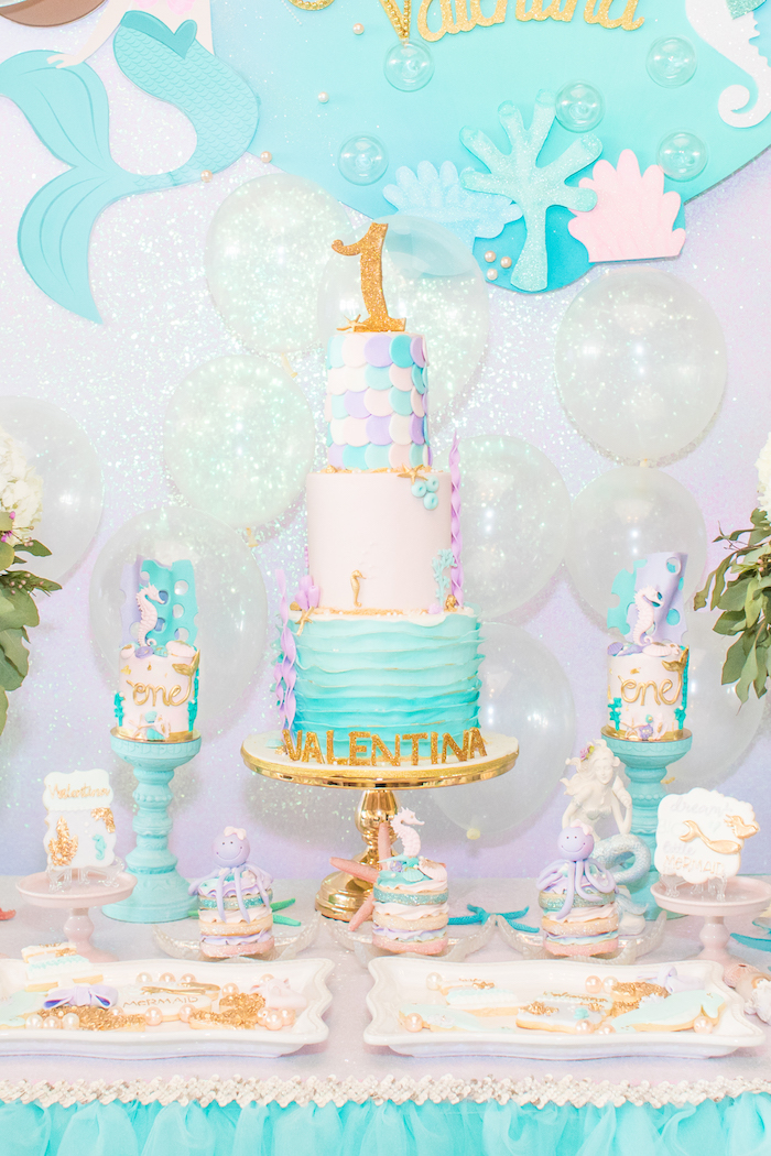 Under the Sea Cake from a Mermaid Under the Sea Birthday Party on Kara's Party Ideas | KarasPartyIdeas.com (16)