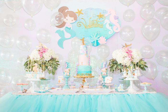 Mermaid Themed Dessert Table from a Mermaid Under the Sea Birthday Party on Kara's Party Ideas | KarasPartyIdeas.com (15)