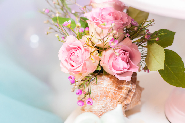 Conch Shell Floral Arrangement from a Mermaid Under the Sea Birthday Party on Kara's Party Ideas | KarasPartyIdeas.com (14)