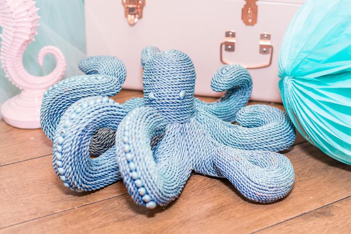 Rope Octopus from a Mermaid Under the Sea Birthday Party on Kara's Party Ideas | KarasPartyIdeas.com (13)