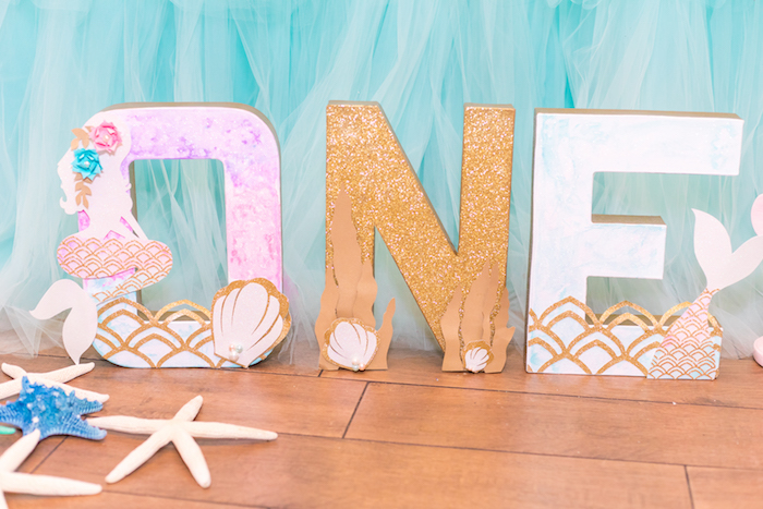 Under the Sea Block Letters from a Mermaid Under the Sea Birthday Party on Kara's Party Ideas | KarasPartyIdeas.com (11)
