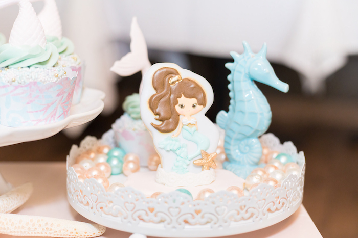 Mermaid Cookie & Pearls from a Mermaid Under the Sea Birthday Party on Kara's Party Ideas | KarasPartyIdeas.com (10)