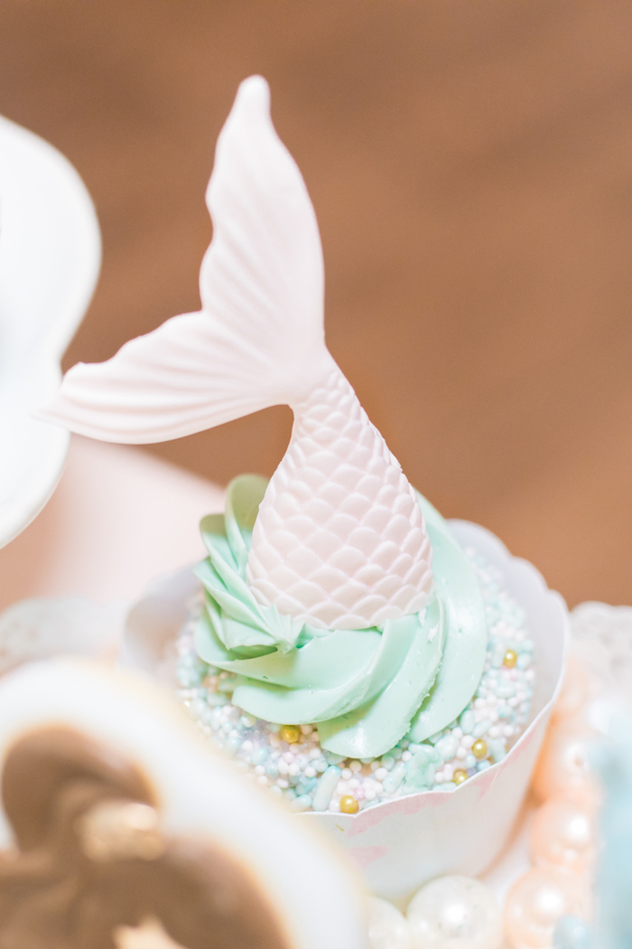 Mermaid Fin Cupcake from a Mermaid Under the Sea Birthday Party on Kara's Party Ideas | KarasPartyIdeas.com (5)