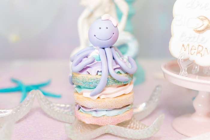 Octopus Cookie Stack from a Mermaid Under the Sea Birthday Party on Kara's Party Ideas | KarasPartyIdeas.com (4)