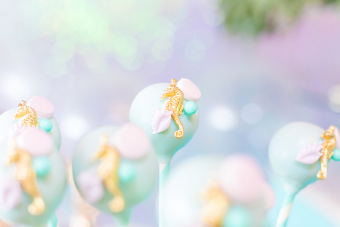 Seahorse Cake Pops from a Mermaid Under the Sea Birthday Party on Kara's Party Ideas | KarasPartyIdeas.com (36)