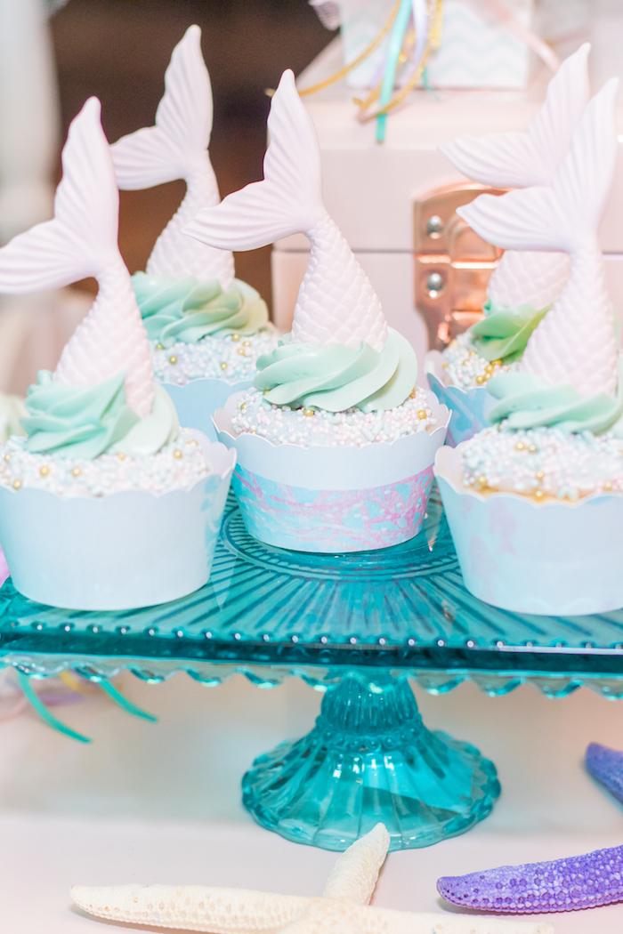Mermaid Fin Cupcakes from a Mermaid Under the Sea Birthday Party on Kara's Party Ideas | KarasPartyIdeas.com (35)