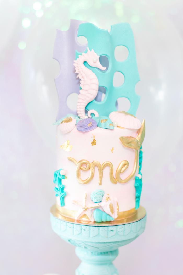 Seahorse Cake from a Mermaid Under the Sea Birthday Party on Kara's Party Ideas | KarasPartyIdeas.com (34)