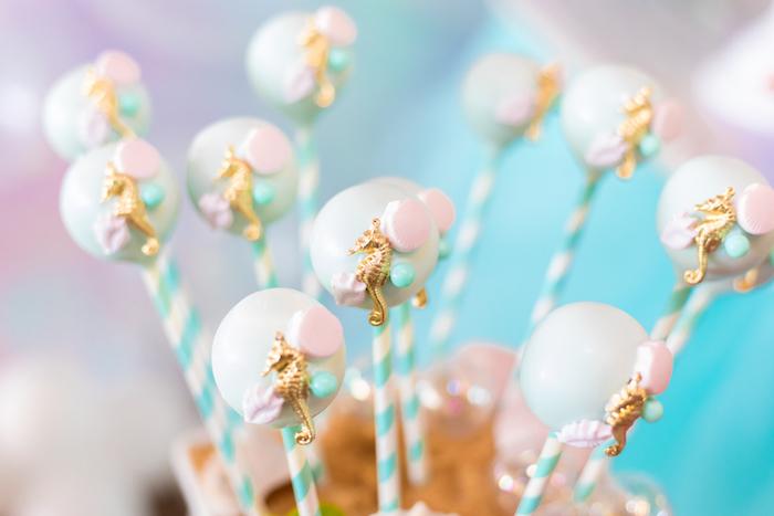 Seahorse Cake Pops from a Mermaid Under the Sea Birthday Party on Kara's Party Ideas | KarasPartyIdeas.com (31)