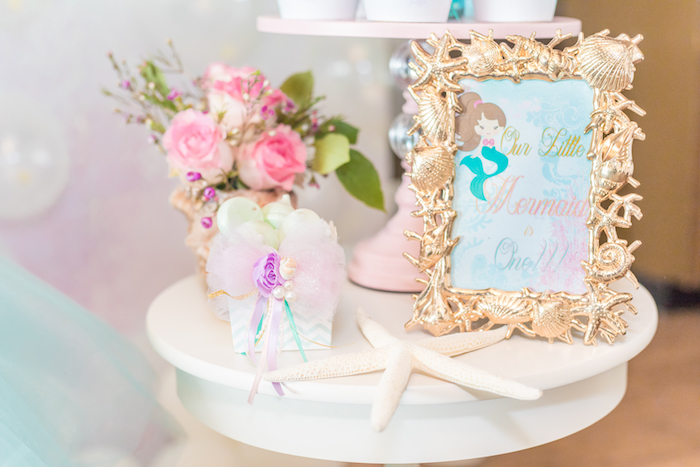 End Table from a Mermaid Under the Sea Birthday Party on Kara's Party Ideas | KarasPartyIdeas.com (30)