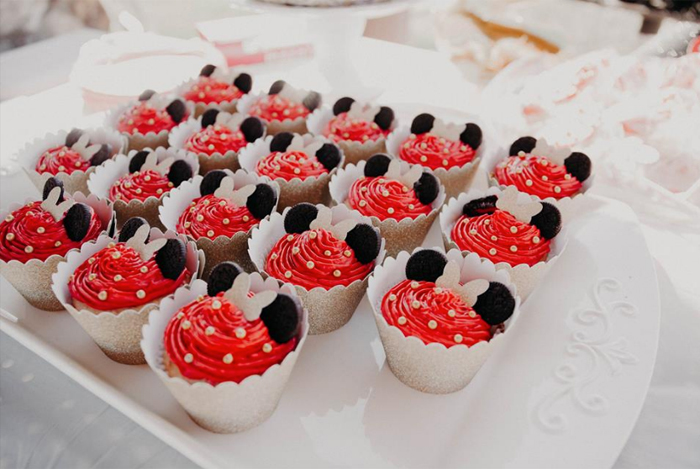 Minnie Mouse Cupcakes from a Minnie Mouse Clubhouse Birthday Party on Kara's Party Ideas | KarasPartyIdeas.com (11)