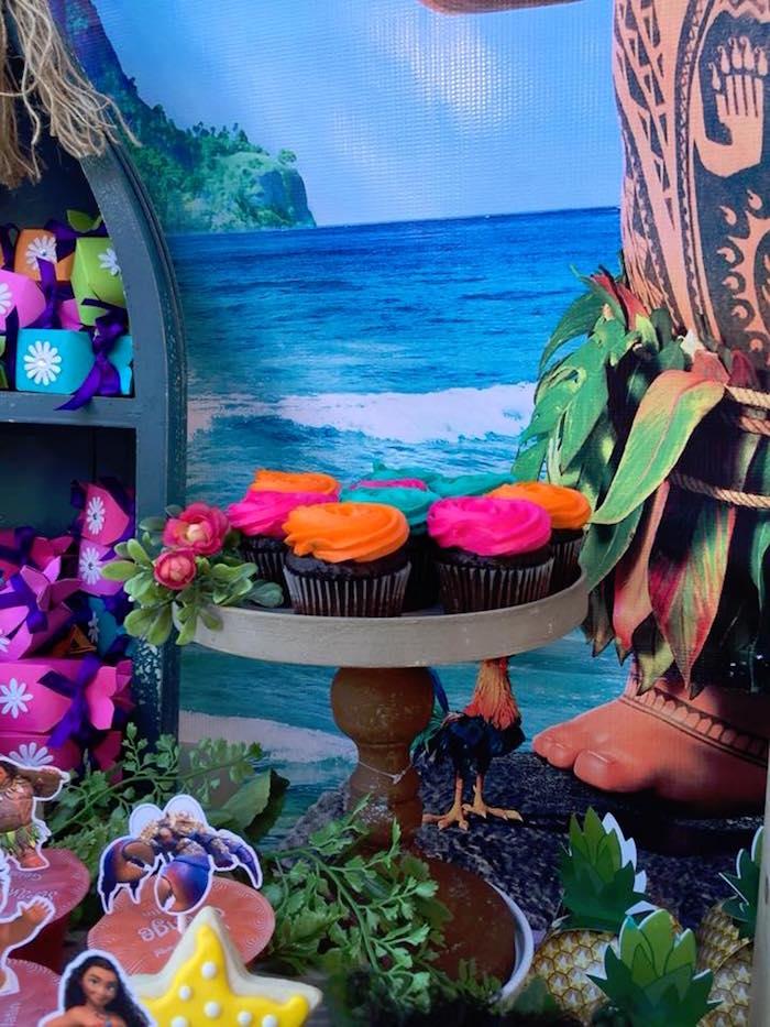 Bright Colored Cupcakes from a Moana Birthday Party on Kara's Party Ideas | KarasPartyIdeas.com (9)