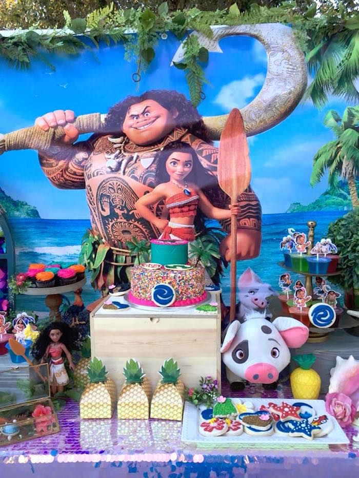 Moana Cakescape from a Moana Birthday Party on Kara's Party Ideas   KarasPartyIdeas.com (5)