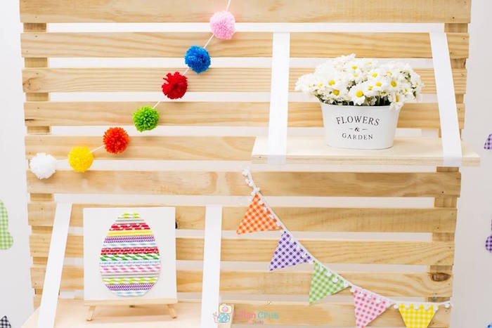 Wood Slat Easter Backdrop from a Modern Colorful Easter Party on Kara's Party Ideas | KarasPartyIdeas.com (16)