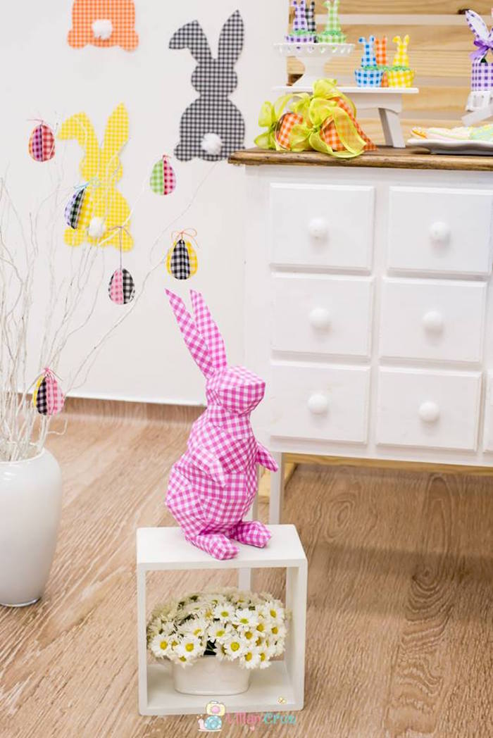 Geometrical Bunny from a Modern Colorful Easter Party on Kara's Party Ideas | KarasPartyIdeas.com (14)