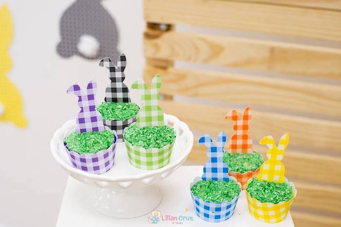 Checkered Bunny Cupcakes from a Modern Colorful Easter Party on Kara's Party Ideas | KarasPartyIdeas.com (12)