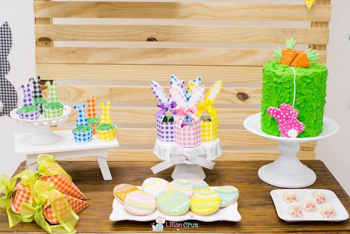 Dessert Table from a Modern Colorful Easter Party on Kara's Party Ideas | KarasPartyIdeas.com (9)