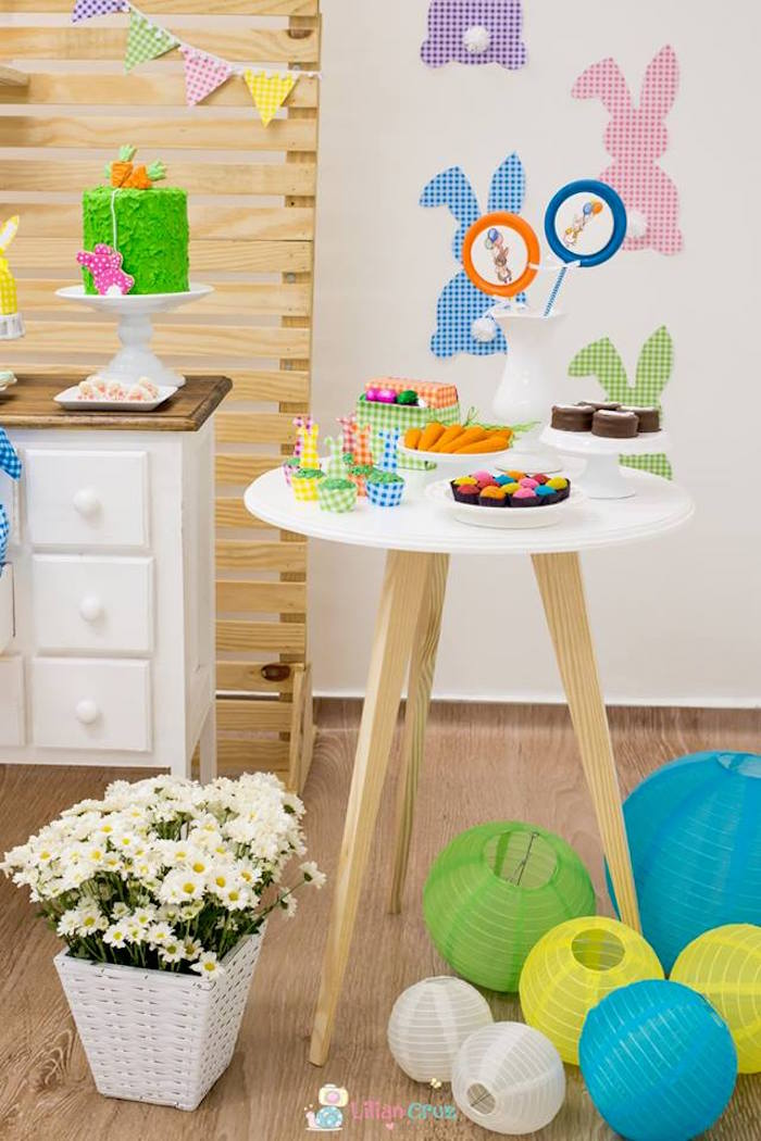 Tall Easter Table from a Modern Colorful Easter Party on Kara's Party Ideas | KarasPartyIdeas.com (6)
