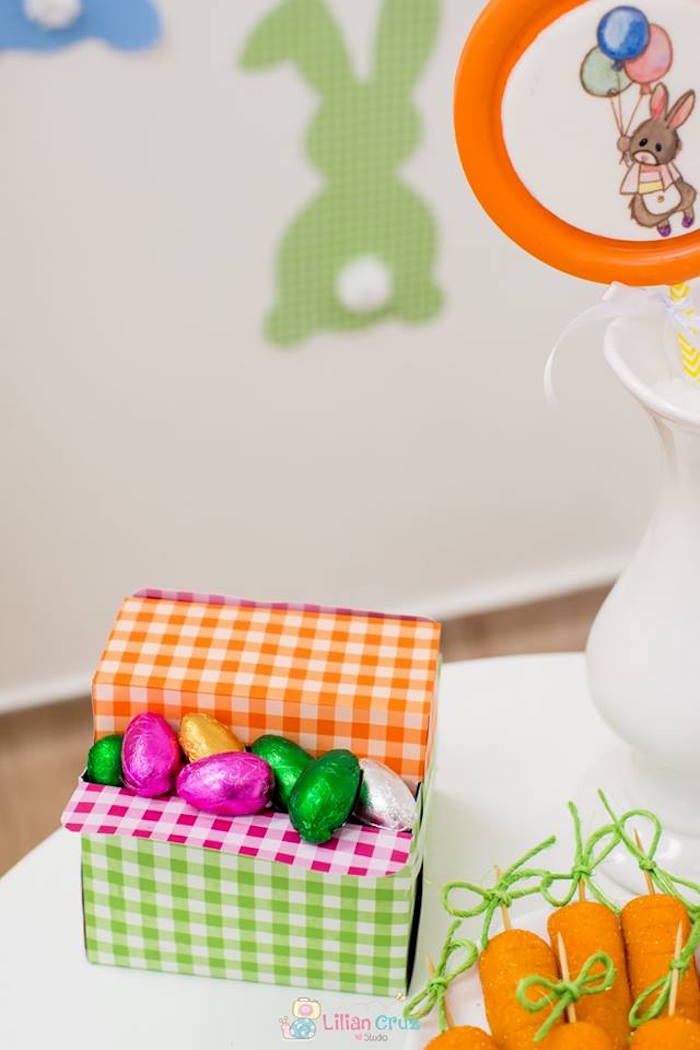 Checkered Box filled with Chocolate Eggs from a Modern Colorful Easter Party on Kara's Party Ideas | KarasPartyIdeas.com (25)