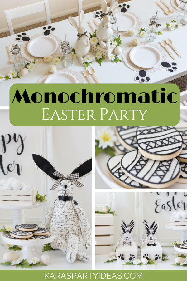 Monochromatic Easter Party via Kara's Party Ideas - KarasPartyIdeas.com