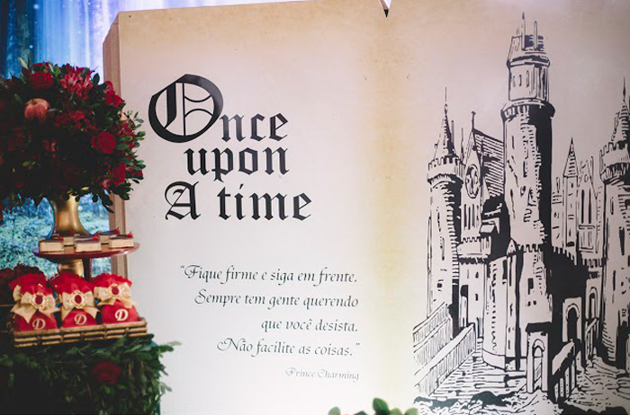 "Once-Upon-A-Time-Storybrook-Backdrop from ABC's ""Once Upon a Time"" Inspired Birthday Party on Kara's Party Ideas 