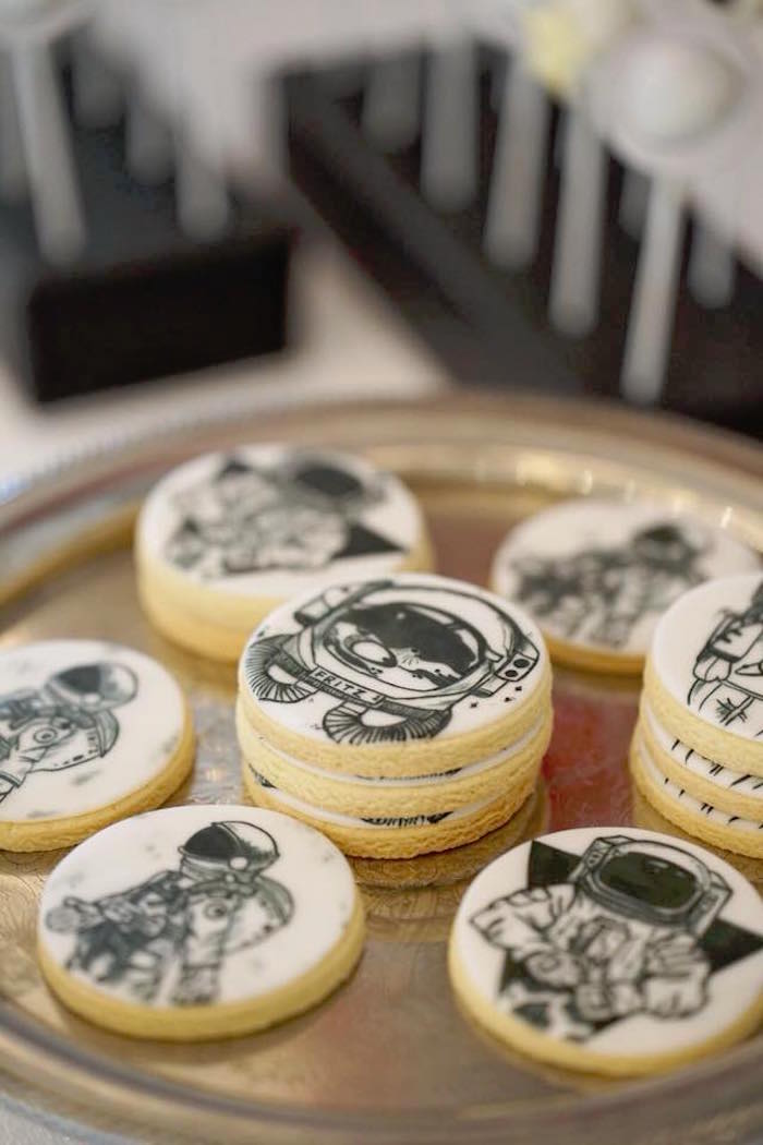 Astronaut Cookies from an Outer Space Rocket Ship Birthday Party on Kara's Party Ideas | KarasPartyIdeas.com (15)