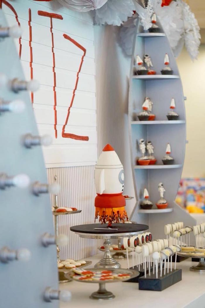 Rocket Ship Themed Dessert Table from an Outer Space Rocket Ship Birthday Party on Kara's Party Ideas | KarasPartyIdeas.com (12)