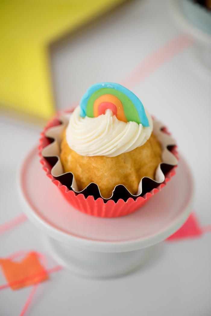 Rainbow Cupcake from a Pastel Neon Teen Birthday Party on Kara's Party Ideas   KarasPartyIdeas.com (25)