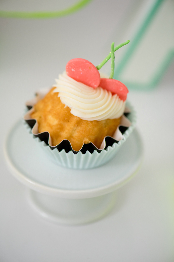 Twin Cherry Cupcake from a Pastel Neon Teen Birthday Party on Kara's Party Ideas | KarasPartyIdeas.com (24)
