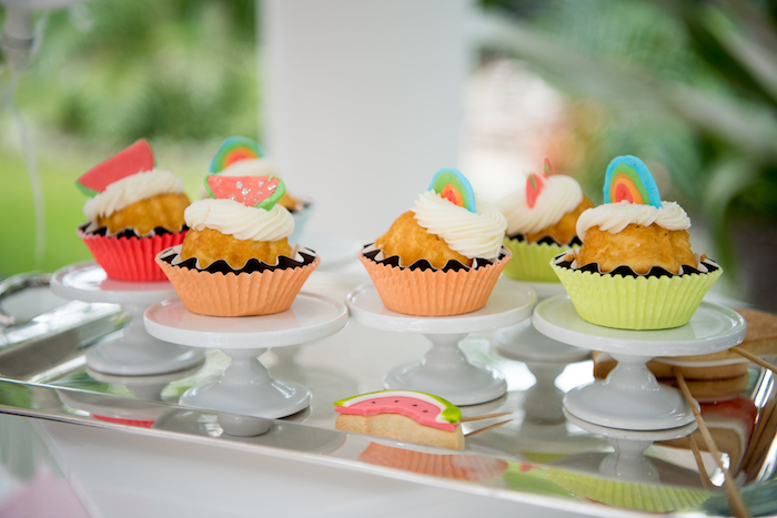 Neon-inspired Cupcakes from a Pastel Neon Teen Birthday Party on Kara's Party Ideas | KarasPartyIdeas.com (20)