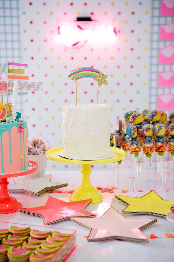 Neon-inspired Rainbow Cake from a Pastel Neon Teen Birthday Party on Kara's Party Ideas | KarasPartyIdeas.com (19)