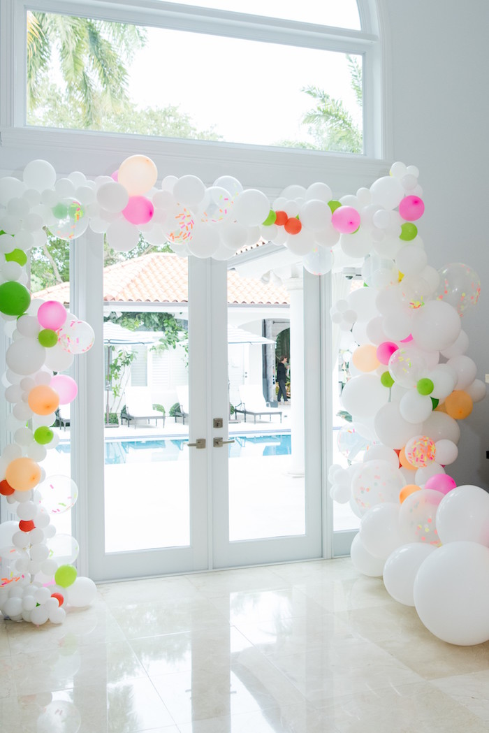 Neon-inspired Balloon Arch from a Pastel Neon Teen Birthday Party on Kara's Party Ideas | KarasPartyIdeas.com (37)