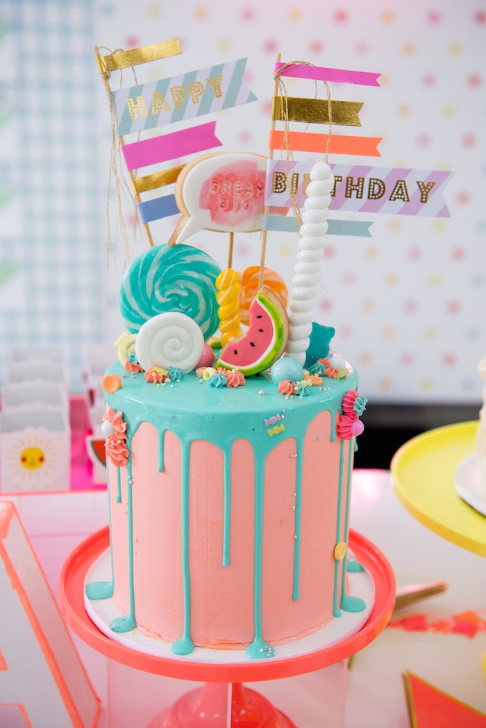 Cute Candy-topped Drip Cake from a Pastel Neon Teen Birthday Party on Kara's Party Ideas | KarasPartyIdeas.com (18)
