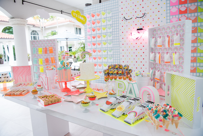 Dessert Table from a Pastel Neon Teen Birthday Party on Kara's Party Ideas | KarasPartyIdeas.com (16)