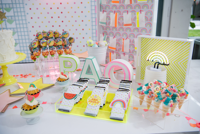 Dessert Table Detail from a Pastel Neon Teen Birthday Party on Kara's Party Ideas | KarasPartyIdeas.com (15)