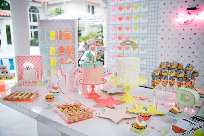 Neon-inspired Dessert Table from a Pastel Neon Teen Birthday Party on Kara's Party Ideas | KarasPartyIdeas.com (14)