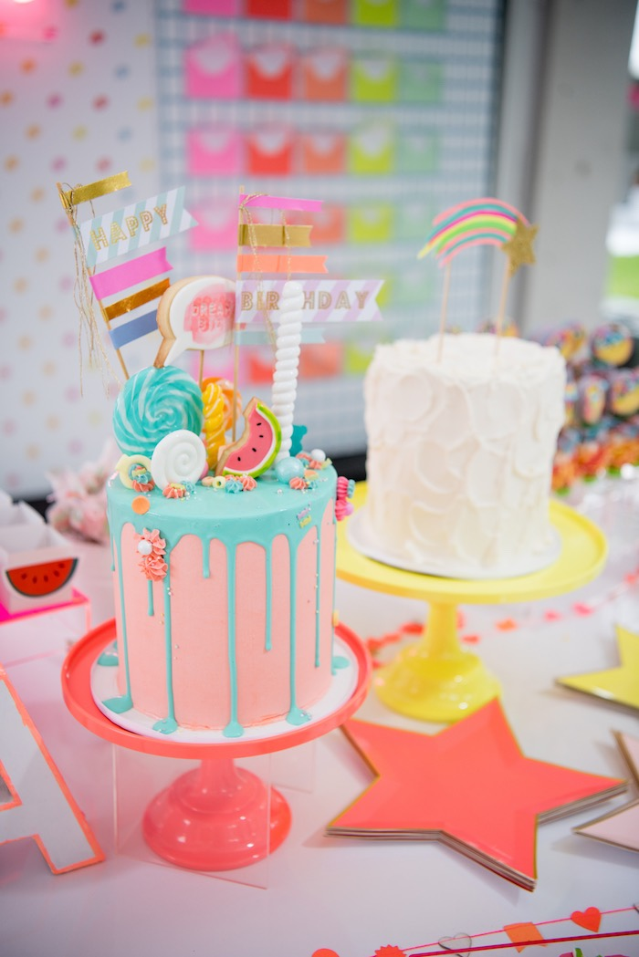 Cakes from a Pastel Neon Teen Birthday Party on Kara's Party Ideas | KarasPartyIdeas.com (13)