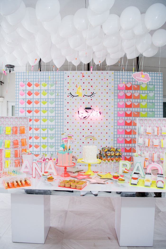 Neon-inspired Dessert Table from a Pastel Neon Teen Birthday Party on Kara's Party Ideas | KarasPartyIdeas.com (11)