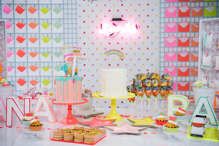 Neon-inspired Dessert Table from a Pastel Neon Teen Birthday Party on Kara's Party Ideas | KarasPartyIdeas.com (10)
