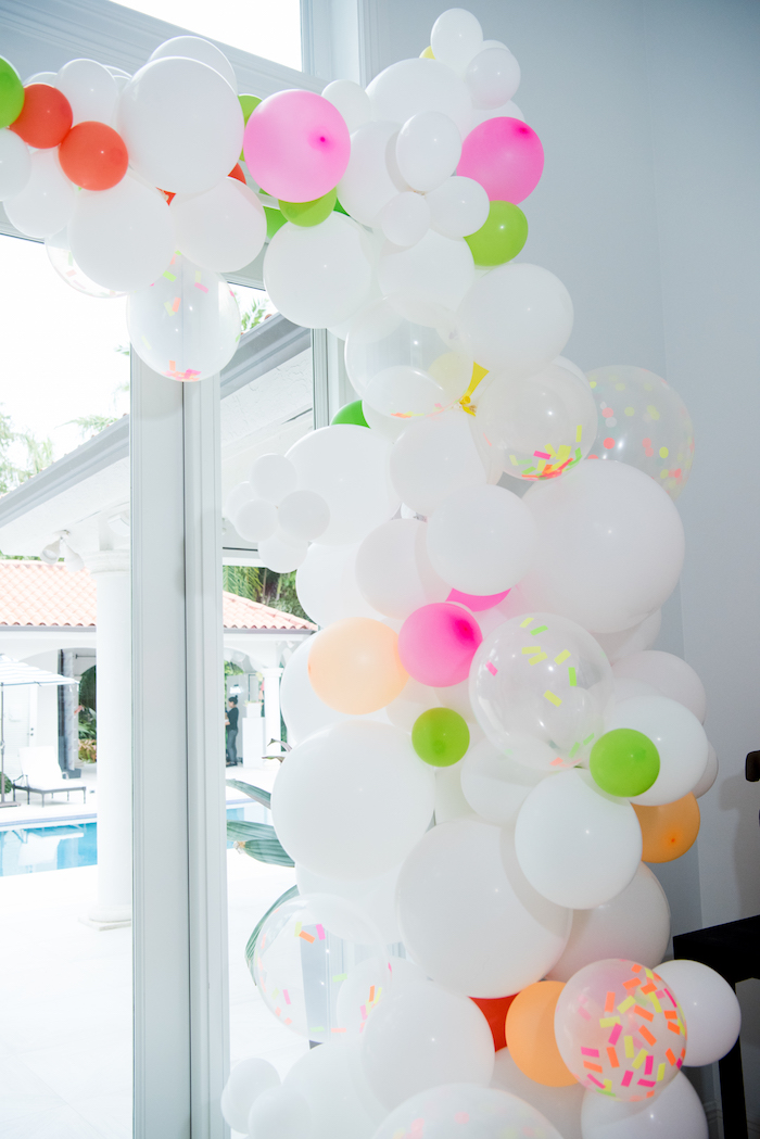 Neon-inspired Balloon Installation from a Pastel Neon Teen Birthday Party on Kara's Party Ideas | KarasPartyIdeas.com (36)