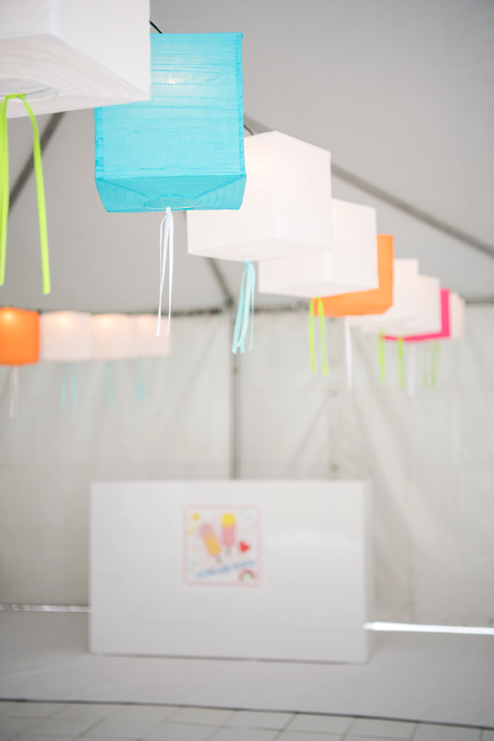 Square Paper Lanterns from a Pastel Neon Teen Birthday Party on Kara's Party Ideas | KarasPartyIdeas.com (5)