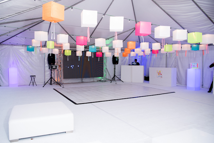 Square Paper Lantern Ceilingscape from a Pastel Neon Teen Birthday Party on Kara's Party Ideas | KarasPartyIdeas.com (3)